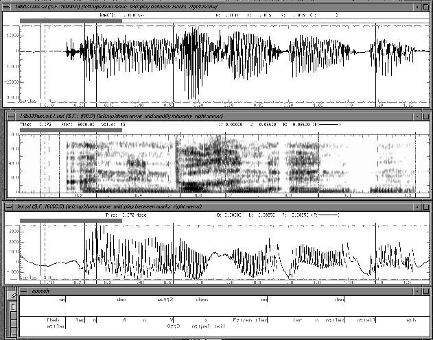 oszillogram, spectrogram, laryngogram and labelfiles from a sentence spoken in a sad mood